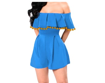 Light Blue Romper with Bright Gold Pom Poms
