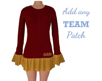 Deep Red + Gold Tunic Sweater
