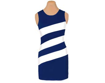 Navy + White Diagonal Stripe Dress