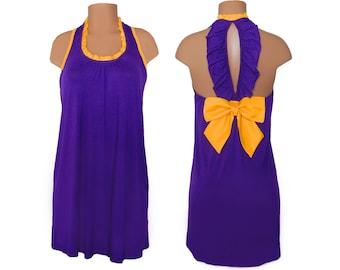 Purple + Bright Gold Back Bow Dress