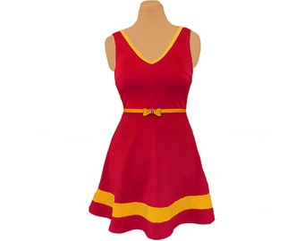 Red and Golden Yellow Skater Dress