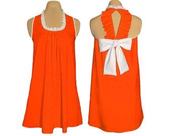 Orange and White Back Bow Dress