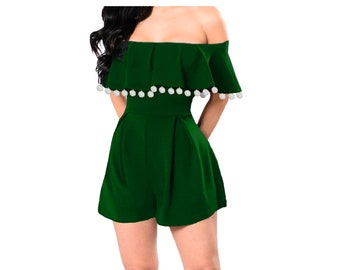Green Romper with White Pom Poms