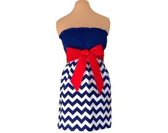 Red + Navy Chevron Game Day Dress
