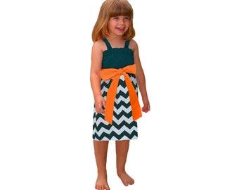 Green + Orange Chevron Game Day Dress - Girls