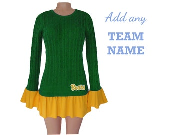 Green and Yellow Tunic Sweater