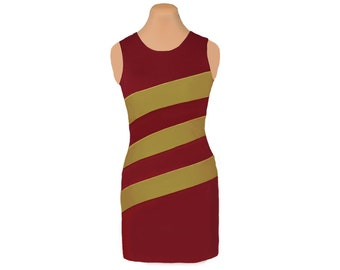 Deep Red + Gold Diagonal Stripe Dress