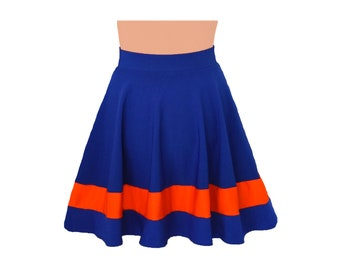 Dark Royal Blue + Orange Cheerleader Style Skirt