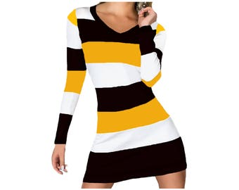 Black and Yellow Stripe Game Day Dress