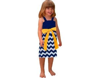 Blue or Navy + Yellow Chevron Game Day Dress - Girls