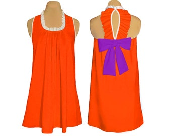 Orange and Purple Game Day Back Bow Dress