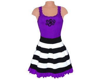 Purple + Black Stripe Scuba Skirt and Monogram Tank
