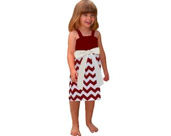 Deep Red + White Chevron Game Day Dress - Girls