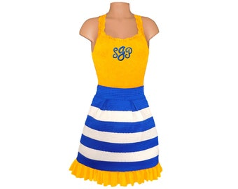 Yellow + Blue Stripe Scuba Skirt and Monogram Tank