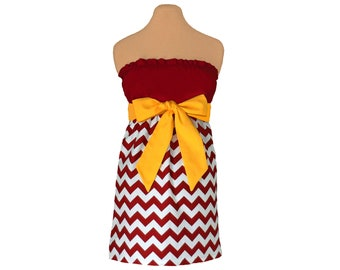 Deep Red + Golden Yellow Chevron Game Day Dress