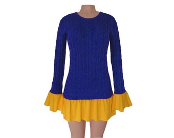 Dark Royal Blue + Yellow Tunic Sweater