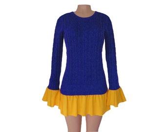 Dark Royal Blue + Yellow Tunic Sweater