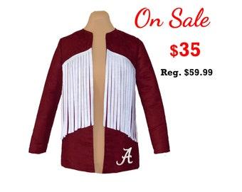 Deep Red Suede Alabama Jacket with White Fringe