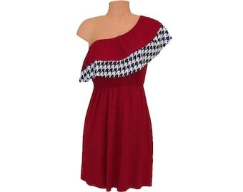 Alabama Houndstooth and Crimson One-Shoulder Dress