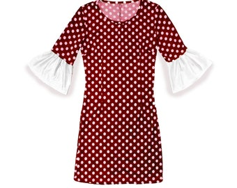 Deep Red and White Polka Dot Dress with Trumpet Sleeves Game Day Dress