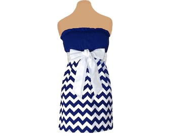 Navy + White Chevron Game Day Dress