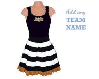 Black + Gold Stripe Scuba Skirt with Embroidered Team Tank Top