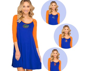Orange + Blue Game Day Dress- Gators, Boise State, Illini, Mets