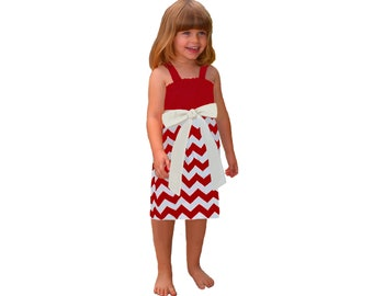 Red + White Chevron Game Day Dress - Girls