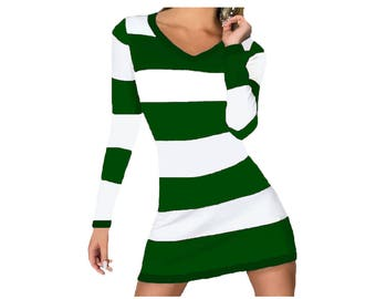 Green and White Stripe Game Day Dress