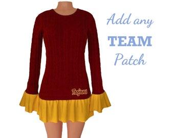 Deep Red + Yellow Tunic Sweater