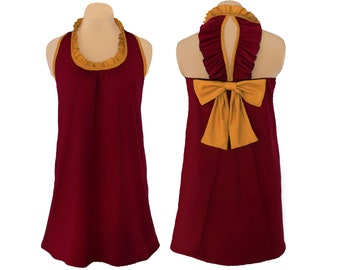 Deep Red + Gold Back Bow Dress