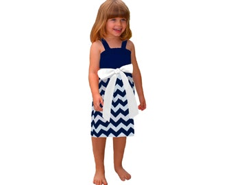 Navy + White Chevron Game Day Dress - Girls