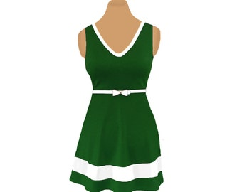 Green + White Skater Dress