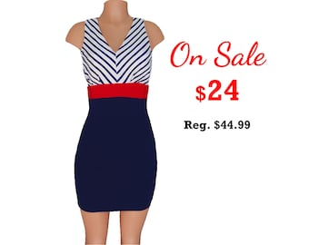 Red + Navy Stripe Colorblock Dress