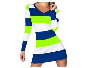 Blue and Bright Green Stripe Game Day Dress