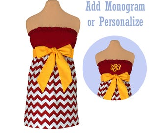 Deep Red + Yellow Chevron Game Day Dress