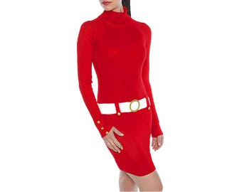 Red + White Sweater Dress
