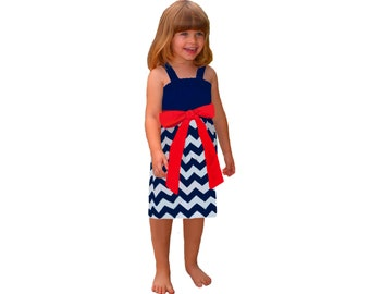 Red + Navy Chevron Game Day Dress - Girls