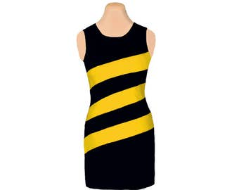 Black + Yellow Diagonal Stripe Dress