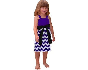 Purple + Black Chevron Game Day Dress - Girls