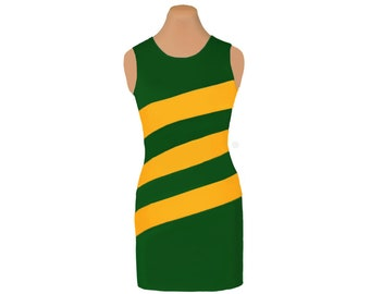 Green + Yellow Diagonal Stripe Dress