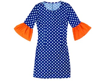 Blue or Navy + White Polka Dot Dress with Orange Trumpet Sleeves- Gators, Auburn, Broncos, Bears, Astros Game Day
