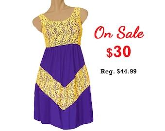 Purple + Bright Gold Lace Chevron Dress