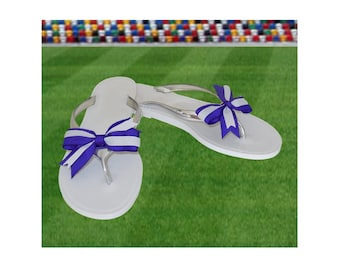 Purple + White Bow Jelly Sandals