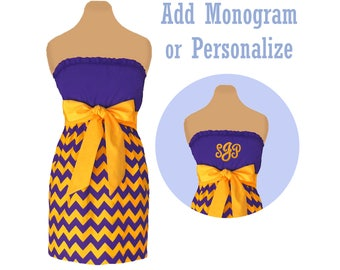 Purple + Bright Gold Chevron Game Day Dress
