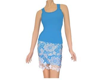 Light Blue and White Crochet Skirt