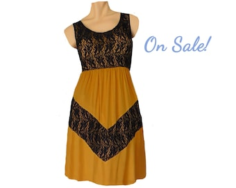 Gold + Black Lace Chevron Dress