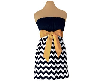 Black + Gold Chevron Game Day Dress