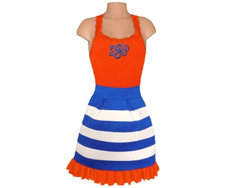 Orange + Blue Stripe Scuba Skirt and Monogram Tank