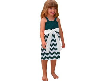 Green + White Chevron Game Day Dress - Girls